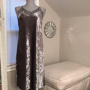 Crushed Velvet & Lace Midi Dress